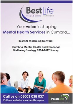 View Cumbria Mental Health and Emotional Wellbeing Strategy 2014-2017 Survey Report