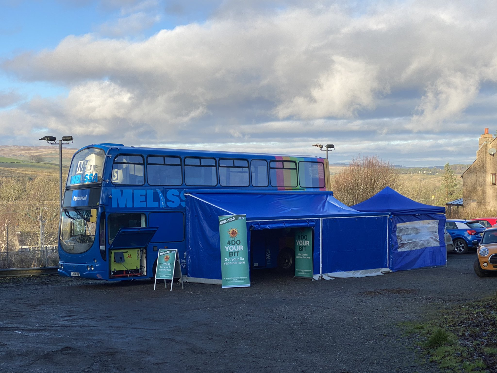 NHS 'MELISSA' bus visits Cumbria to support flu clinics at Shap Medical Practice