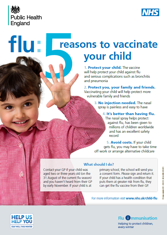 Children - Flu vaccination - information poster - 5 reasons to give child flu vaccination