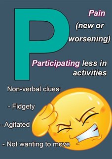 P - Pain (new or worsening), Participating less in activities