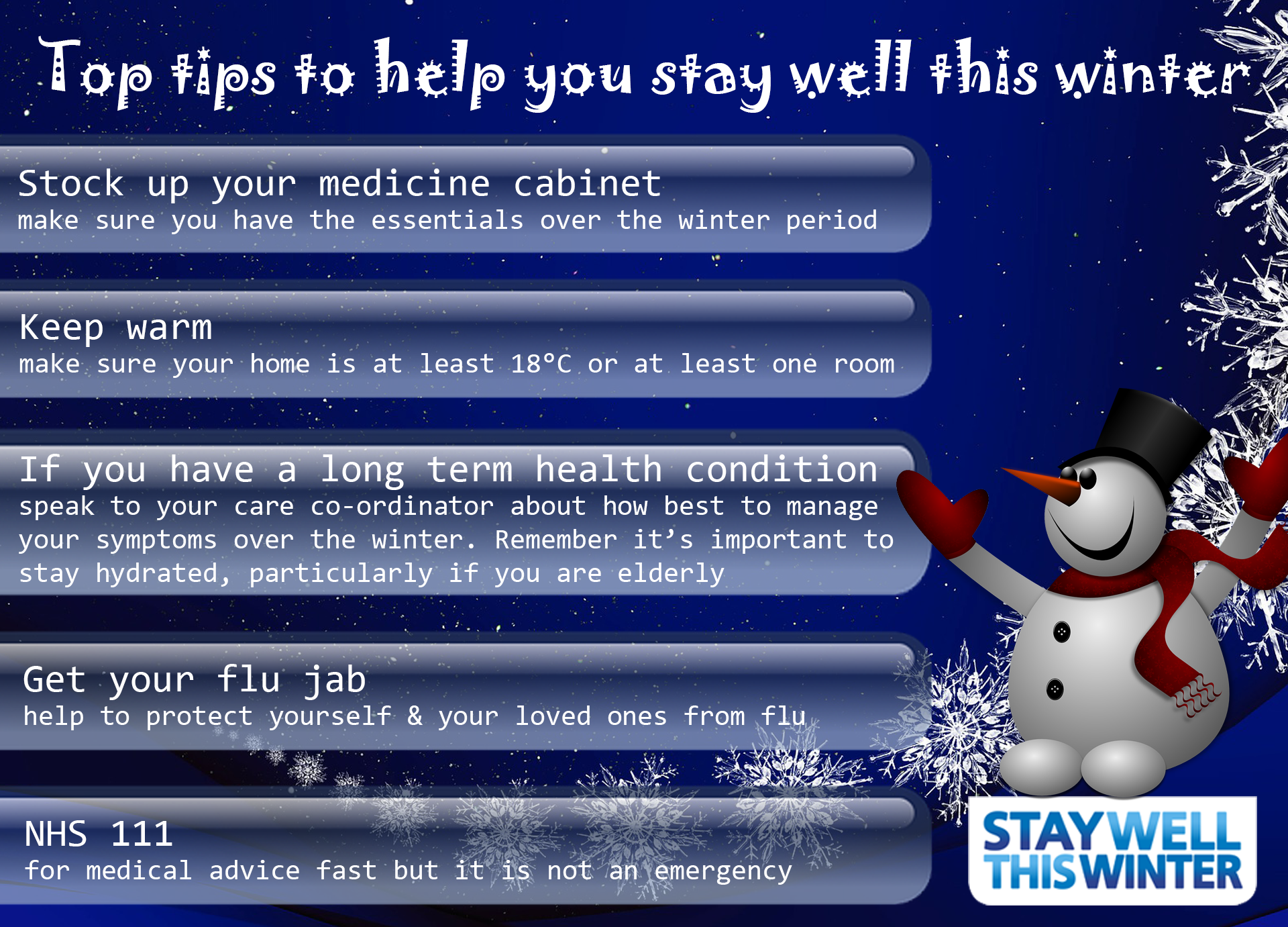 Top tips to help you stay well this winter - snowman graphic