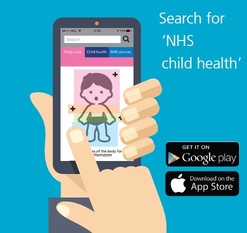 Search for 'NHS child health' - Get it on Google Play or Download on the App Store