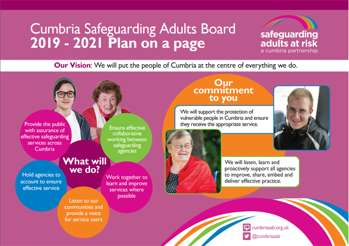 Cumbria Safeguarding Adults Board: 2019-2021 Plan on a page - front cover